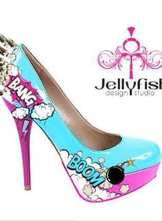 pumps with comic design.