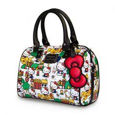 Hello Kitty Classic House Scene Pebble Purse Duffle Bag. Hello Kitty Purse, Hello Kitty Toys, Sanrio Hello Kitty, Unique Purses, Womens Purses, Classic House, Diaper Bag, Scene, Shoulder Bag
