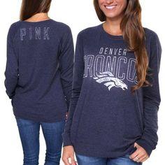 Victoria's Secret PINK Denver Broncos Ladies Boyfriend Fleece Sweatshirt - Navy Blue