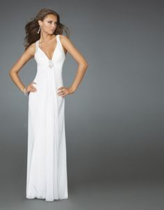 2011 Style Sheath / Column V-neck Beading Sleeveless Floor-length Chiffon White Prom Dress / Evening Dress White Pageant Dresses, Backless Prom Dresses, Beautiful Prom Dresses, Sexy Wedding Dresses, Event Dresses, Ball Dresses, Nice Dresses, Amazing Dresses, Dress Prom