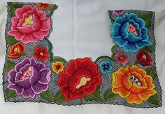 Central American, machine embroidered