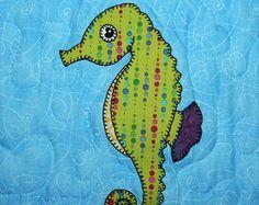Seahorse PDF applique pattern; marine or ocean animal quilt block pattern; baby quilt pattern; child's quilt; ocean adventure nursery quilt