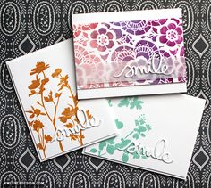 Tim Holtz Stencils & Colored Embossing Paste CAS cards
