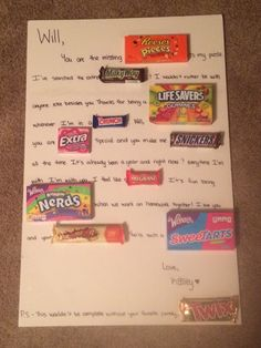Welcome Home Candy Poster For My Boyfriend So Cute Pinterest