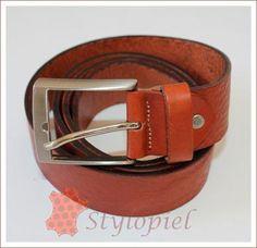 Cinturón hombre flor marrón