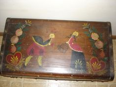 Peter-Hunt-Folk-Art-Hand-Painted-Original-Bride-Wedding-Trunk-Chest-1948