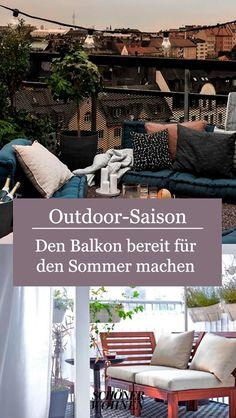 Hier findet ihr Tipps, um jeden Balkon schön zu gestalten. Kleine oder schmale Balkons sind mit diesen Ideen kein Problem. Outdoor Furniture Sets, Outdoor Decor, New Homes, Home Decor, Balcony Privacy, Narrow Balcony, Small Balconies, Backyard Patio, Homes