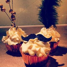 Great Gatsby theme cupcakes - Homemade Vanilla cake filled with a maple caramel sauce frosted with buttercream.