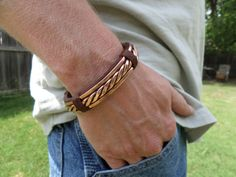 Men's+Bracelet+Men's+Leather+and+Copper+by+ColeTaylorDesigns,+$45.00