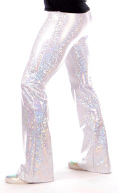 Holographic Disco Men's Flare Pants: USA Made Flared Bell Bottom Pants Edm Music Festivals, Music Festival Fashion, Mens Hottest Fashion, Mens Fashion, Bell Bottom Pants, Bell Bottoms, Hologram Printing, Holographic Fabric, Disco Ball