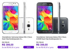 "Samsung Galaxy Win 2 Duos Dual Chip Android 4.4 Tela 4.5"" 8GB 4G Câmera 5MP Digital << R$ 39900 em 6 vezes >>"