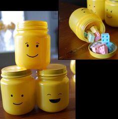 Upcycle  baby food jars to make LEGO heads