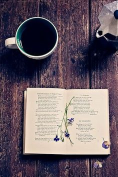 cup of coffee with some poems