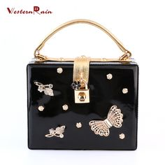WesternRain New Style Hot Selling Rhinestones Butterflies Accessories Top Quality Fashion Ladies&Women Dinner Party Dress Shoulder Handbag 1995-3-B3 (Color: Black) Brand Name: WesternRain Item Type: bag Fine or Fashion: Fashion Included Additional Item: bag Style: Trendy Gender:Women Material:PU leather Occasion:Wedding,Party Metals Type: Copper alloy Shape: Square Size of bag: 20cmX16cm The thickness of bag: about 8cm The bag belt could be adjusted