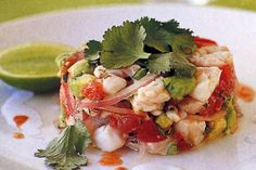 Lime juice 'cooks' the fish for this beautiful gourmet starter. Seafood Recipes, Indian Food Recipes, Healthy Recipes, Ethnic Recipes, Healthy Foods, Dinner Recipes, Tapas Menu, Ceviche Recipe, Sweet Chilli Sauce