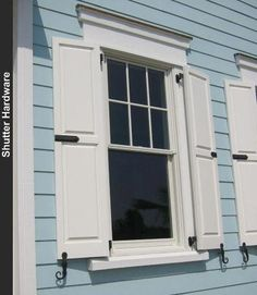 New exterior shutters hardware window boxes ideas Shutter Hardware, Garage Door Hardware, Gate Hardware, Window Shutters Exterior, House Shutters, Old Shutters, Outdoor Shutters, Shutter Decor, Stone Wall Design