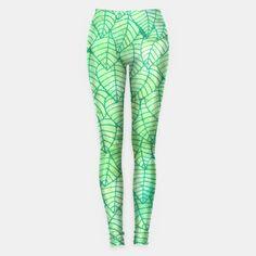 """Green foliage"" Leggings by Savousepate on Live Heroes #leggings #leggins #pants #apparel #clothing #green #foliage #leaves #nature #pattern #drawing #watercolor"