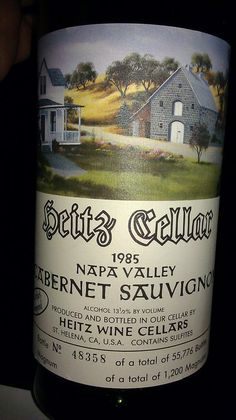 At the Wine Room on a Monday night drinking some truly great wine. Heitz Cellar Martha's Vineyard 1985.