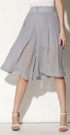 Gray Elastic Waist Button Front Wide Leg Palazzo Culotte Pants