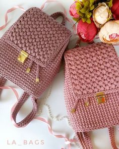 Lovely Crochet Ideas With Easy Free Patterns - Diy Home Decor Crochet Backpack Pattern, Free Crochet Bag, Knit Crochet, Hand Knitting, Knitting Patterns, Crochet Patterns, Crochet Handbags, Beautiful Crochet, Fashion Bags