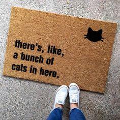 """the """"bunch of cats in here"""" doormat - cat lover - funny doormats - cat lady - housewarming gift - cheeky doormat"""