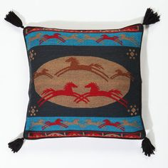 """Beautifully designed galloping horses in shades of tan with vibrant red and turquoise. Ideal for Sofa, Bed, Covered Patio, Cabin, RV, etc.This Decorative Pillow Cover is handwoven from fine Acrylic fabric with solid color back and velcro closing. Silky tassels on each corner. Measures 18"""" x 18"""". Pillow insert included.   El Paso Saddleblanket has the largest selection of handwoven Southwest style decorative pillows and throw pillow covers anywhere.  Our pillows are available in hundreds of…"""