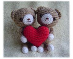 I Love U Cute Amigurumi Bears by furinn on Etsy
