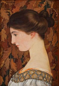 Portrait of Violette Scholder - Ernest Bieler Art Nouveau, Post Impressionism, Impressionist, Art Marron, Pop Art, Brown Art, Art Et Illustration, Portraits, Art Moderne
