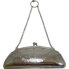 Pretty Antique English Sterling Silver Purse - 1917