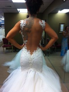 Lace wedding dress open back sequence tulle
