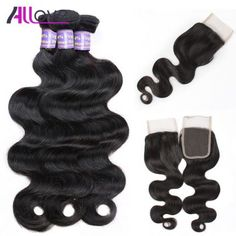 Allove Hair 10A Grade Virgin Unprocessed Brazilian Body Wave Human Hair 3Bundles with Lace Closure 8 8 8 with 8 Natural Color Body Wave Free Part Brazilian Virgin Hair
