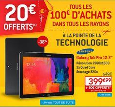 Samsung Galaxy Tab Pro, achat tablette tactile pas cher prix promo Galaxy Tab Pro à seulement 399.99 € sur Rue du Commerce au lieu de 649 € Rue Du Commerce, Galaxy, Computer Science, Technology