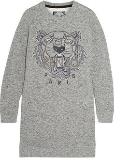 Kenzo Tiger-Embroidered Cotton Sweatshirt Mini Dress - ShopStyle Women