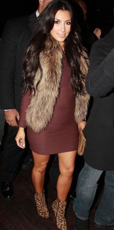 I actually really love this dress/fur vest (Can not believe I'm pinning a Kim K outfit...)