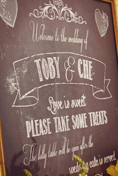 Little Big Company | The Blog: A Vintage Garden Wedding Theme by Sensationally Sweet Events Chalkboard sign