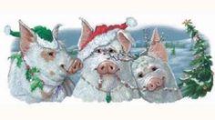 We 3 Pigs Christmas HEAT PRESS TRANSFER for T Shirt Tote Sweatshirt Fabric 112e #AB