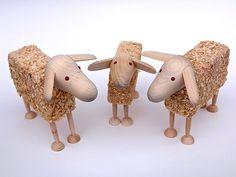 Sheep, Wooden Sheep, Wood Wool