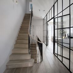 Wood And Glass Door Design Interiors 49 Ideas Style At Home, Hallway Inspiration, Hallway Ideas, Stairs Ideas Uk, Door Ideas, Wall Ideas, Crittal Doors, Crittall Windows, Interior Design Pictures