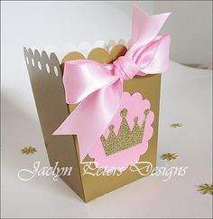 Princess Party Popcorn Favor Box Pink And by JaclynPetersDesigns