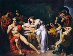 Achilles discovers Briseis with the body of Patroclus in his tent. Julien Michel Gue. French 1789-1843. oil/canvas. http://hadrian6.tumblr.com
