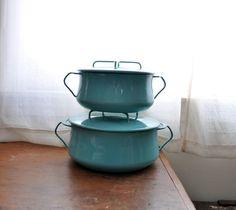 Dansk Kobenstyle turquoise Quistgaard pots set of two jhq