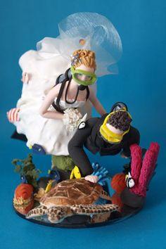 Scuba Diving Bride And Groom Wedding Cake Topper Handmade Persoanlised