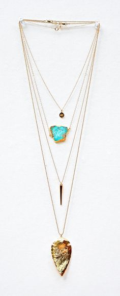 """Gold necklace with an Opera chain of 48"""", Matinee with a 35"""" chain, Chain of 24"""", and a Jewel of 18""""."""