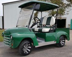 Green Old Truck Custom Club Car Precedent Gas Golf Cart Gas Golf Carts, Custom Golf Carts, Golf Pride Grips, Golf Club Grips, Golf 6, Mens Golf, Golf Cart Parts, Golf Gps Watch, Golf Tips Driving