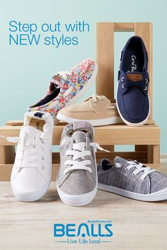 2cc32fac3758 Step out with new styles of canvas shoes from Bealls! Put some pep in your