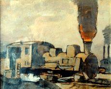 """Locomotora FONSECA, Gonzalo (1922 - 1997) Óleo sobre tela, 35 x 43 cm. Firmado abajo derecha. Dorso: Estampilla Exposición """"Amigos del Arte"""", 28 junio - 13 diciembre, Montevideo 1962"""