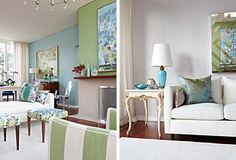 Sarah Richardson.  Love blues and greens!  Was the color inspiration for my main living area.  A fresh and happy color palette!