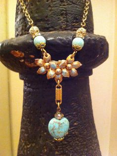 Vintage Gold & Turquoise Flower Necklace  by BelleVia on Etsy, $54.00