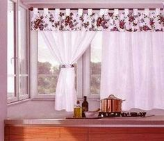 Curtains + for + Kitchens + with - Fr Decora Maison Cute Curtains, Shabby Chic Curtains, Window Curtains, Curtain Patterns, Curtain Designs, Bathroom Curtains, Kitchen Curtains, Kitchen Window Treatments, Curtain Styles