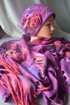 Купить Комплект шапка и шарф валяный Вечерняя серенада - фиолетовый, однотонный, валяние из шерсти